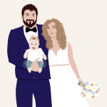 Faire-part de mariage portrait illustré